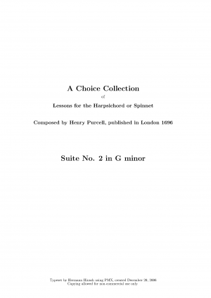 A Choice Collection of Lessons for the Harpsichord or Spinnet
