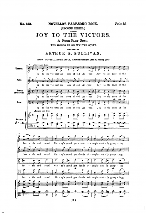 Joy to the Victors. A Four-Part Song.