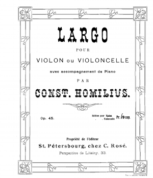 Largo for Violin of Cello and Piano, Op.45