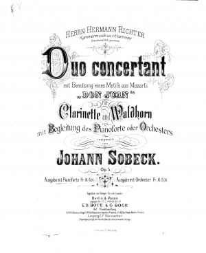 Duo Concertant for Clarinet and Horn on themes from Mozart's 'Don Giovanni', op.5