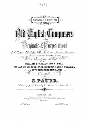 Old English Composers for the Virginals and Harpsichord