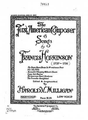 Seven Songs for the Harpsichord or Forte Piano. The Words and Music Composed by Francis Hopkinson