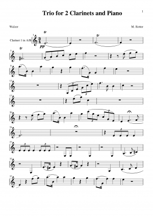 Trio for 2 Clarinets and Piano