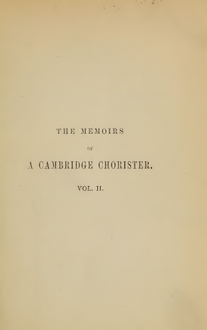 The Memoirs of a Cambridge Chorister