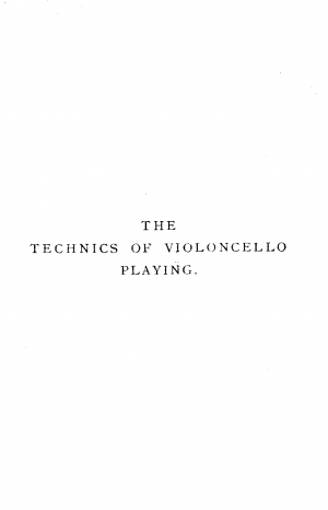 The Technics of Violoncello Playing