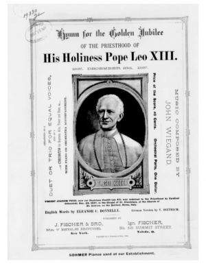 Hymn for the Golden Jubilee of the Priesthood of His Holiness Pope Leo XIII