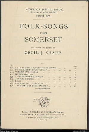 Folk Songs from Somerset gathered and edited with piano-forte accompaniment