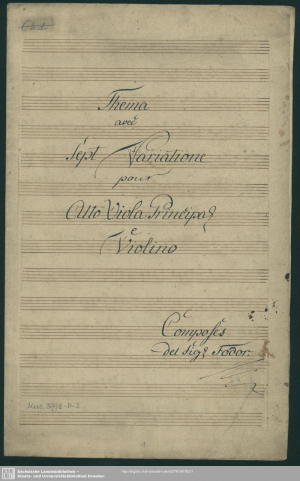 Theme and 7 Variations for Viola and Violin