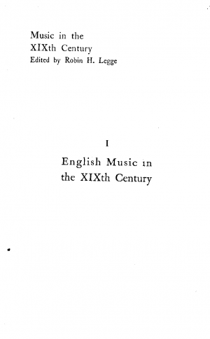 English Music in the 19th Century