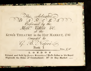 The Celebrated Dances Performed at the King's Theatre, 1781