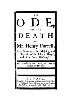 An Ode on the death of Mr. Henry Purcell