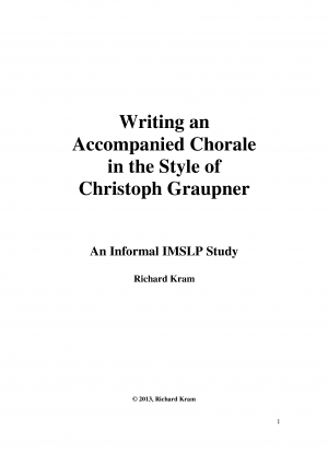 Writing a Chorale in the Style of Christoph Graupner