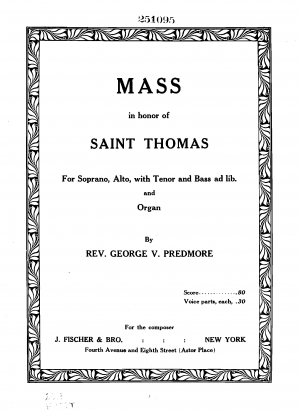 Mass in Honor of Saint Thomas