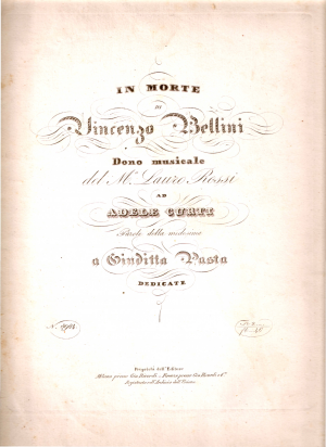 In morte di Vincenzo Bellini