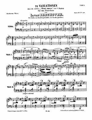 Twenty-four variations for piano on Vincenzo Righini's aria 'Venni Amore', WoO 65