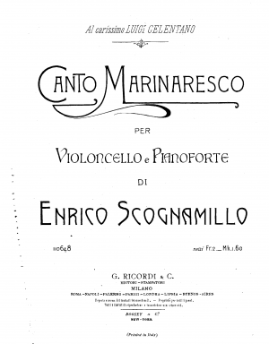 Canto Marinaresco for Cello and Piano