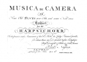 Musica de Camera or Some Old Tunes new Sett, and some New ones Compos'd for the Harpsichord for the Practice and Amusement of the Rt. Honble. the Lady Frances Greville, to whom these are Dedicated