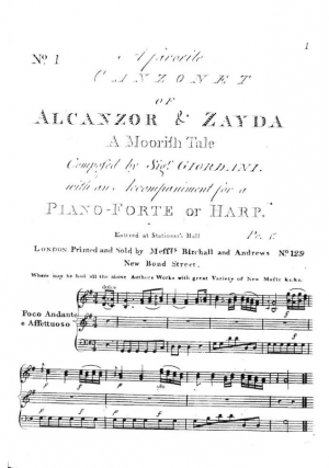 A favorite Canzonet of Alcanzor and Zayda, A Moorish Tale