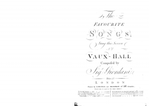 The Favourite Songs Sung this Season at Vaux-Hall