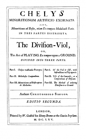 The Division Viol, or the Art of Playing upon a Ground
