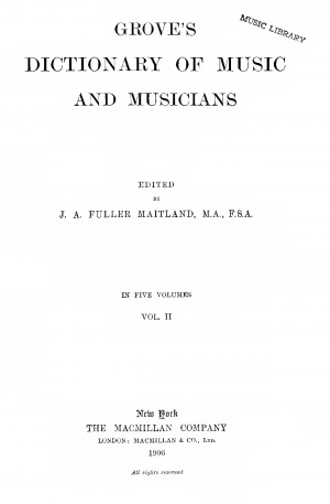 Dictionary of Music and Musicians