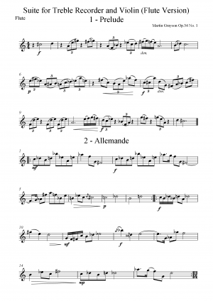 Duos for treble recorder and violin