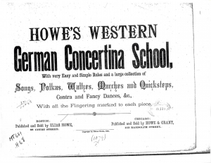 Howe's Western German Concertina School, with very Easy and Simple Rules and a large collection of Songs, Polkas, Waltzes, Marches and Quicksteps, Contra and Fancy Dances, &c. With all the Fingering marked to each piece.
