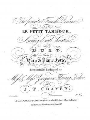The favorite French Romance, Le Petit Tambour, Arranged with Variations, as a Duet for the Harp & Piano Forte